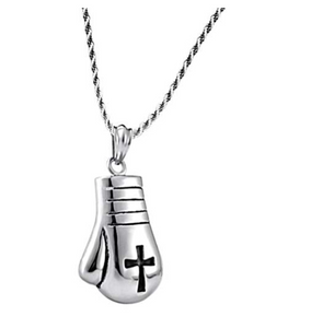Boxing Gloves Necklace Jewelry Bonnie Silver Boxing Gloves Chain Stainless Steel 20in.