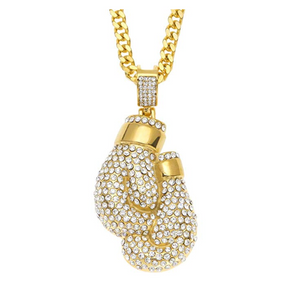 Diamond Boxing Glove Necklace Gold Boxing Gloves Diamond Boxing Jewelry Boxing Gloves Chain Diamond
