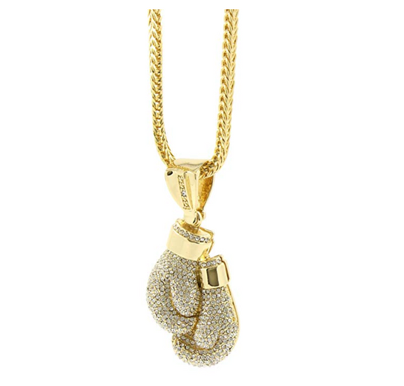 Boxing Gloves Necklace Boxing Gloves Chain Boxing Jewelry Gold Color Metal Alloy Simulated Diamond 24in.