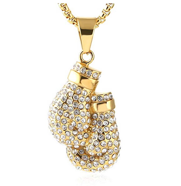 Boxing Gloves Gold Chain Color Metal Alloy Simulated Diamond Boxing Jewelry Boxing Gloves Chain Diamond Boxing Glove Necklace 24in.