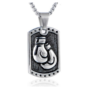 Dog Tag Boxing Glove Necklace Gold Silver Color Metal Alloy Boxing Gloves Silver Boxing Gloves Chain Boxing Jewelry Military Dog Tags 24in.