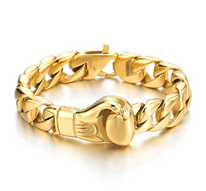 Gold Cuban Link Bracelet Boxing Glove Bracelet Boxing Gloves Curb Chain Boxing Jewelry 8.5in.