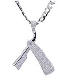 Diamond Razor Necklace Barber Jewelry Barbershop Silver Chain Razor Blade Chain Barber Clippers Necklace 24in