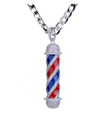 Barber Pole Cuban Link Chain Jewelry Simulated Diamond Barber Silver Necklace Clippers Razor Barbershop Pendant Silver Color Metal Alloy 24in