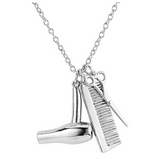 Hairstylist Silver Scissors Necklace Comb Cosmetologist Jewelry Hair Stylist Salon Hair Blow Dryer Chain