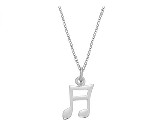 925 Sterling Silver Semiquaver Music Note Necklace Musical Note Pendant Chain Singer Jewelry Gift 18in.