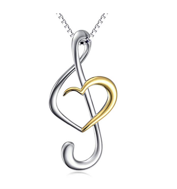 925 Sterling Silver Heart of Treble Clef Music Note Necklace Musical Note Pendant Chain Singer Jewelry Gift 20in.