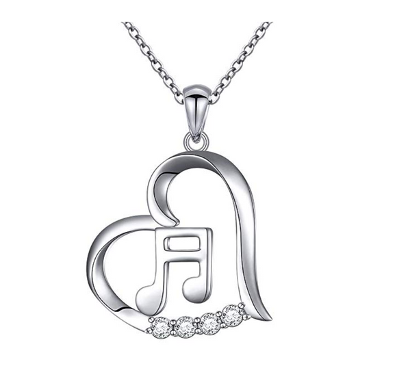925 Sterling Silver 8th Note Heart Music Necklace Gold Musical Note Pendant Chain Singer Jewelry Gift 20in.