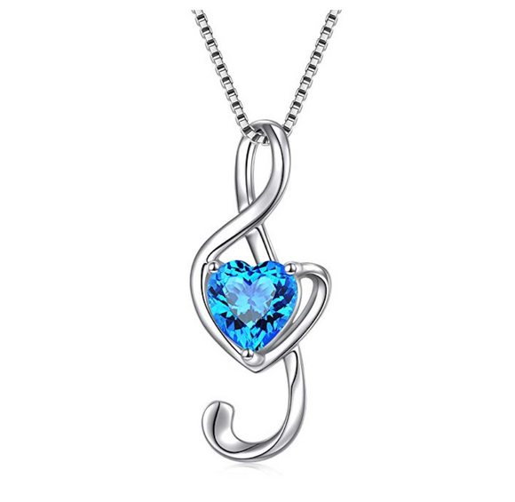 Blue Heart 925 Sterling Silver Treble Clef Note Necklace Simulated Diamond Music Charm Musician Jewelry Singer Gift 18in.