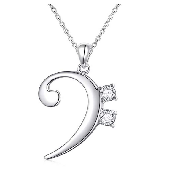 925 Sterling Silver Bass Clef Note Necklace Music Note Charm Musician Jewelry Singer Gift 18in.