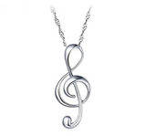 Treble Clef Note Necklace Music Note Silver Charm Musician Jewelry Singer Gift 20in.