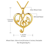 Heart Necklace Music Note Treble Clef Note Charm Musician Jewelry Singer Gift Gold Color Metal Alloy 20in.