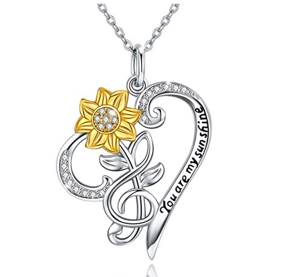 925 Silver Flower Necklace Treble Clef Simulated Diamond Heart Note Music Flower Pendant Mothers Day Anniversary Jewelry Singer Gift 20in.