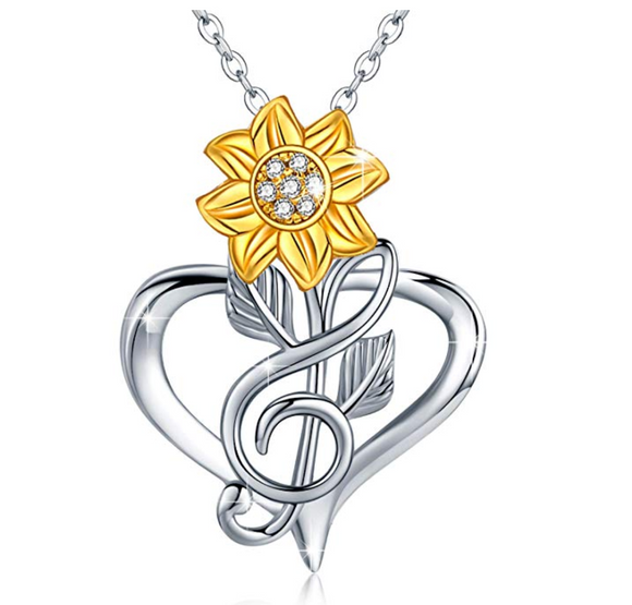 1/10 ct. Simulated Diamond Heart Sunflower Necklace Treble Clef Note Music Jewelry Silver Daisy Mother's Day Singer Gift 20in.