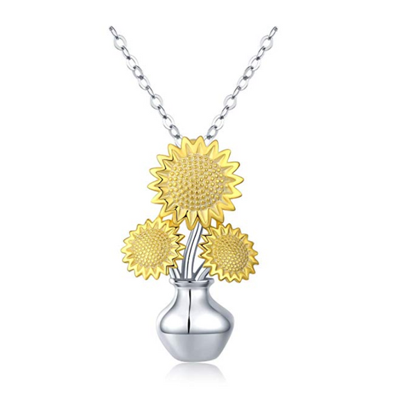 925 Sterling Silver Sunflower Necklace Flower Pendant Sunflower Jewelry Mother's Day Gift 20in.