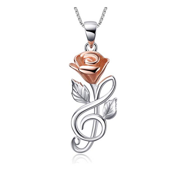 925 Sterling Silver Rose Treble Clef Necklace Flower Music Note Jewelry Mother's Day Gift 20in.