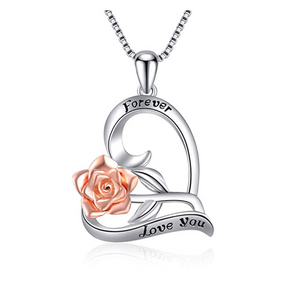 925 Sterling Silver I Love You Heart Rose Necklace Flower Jewelry Gift Rose Mothers Day Anniversary Chain 20in.