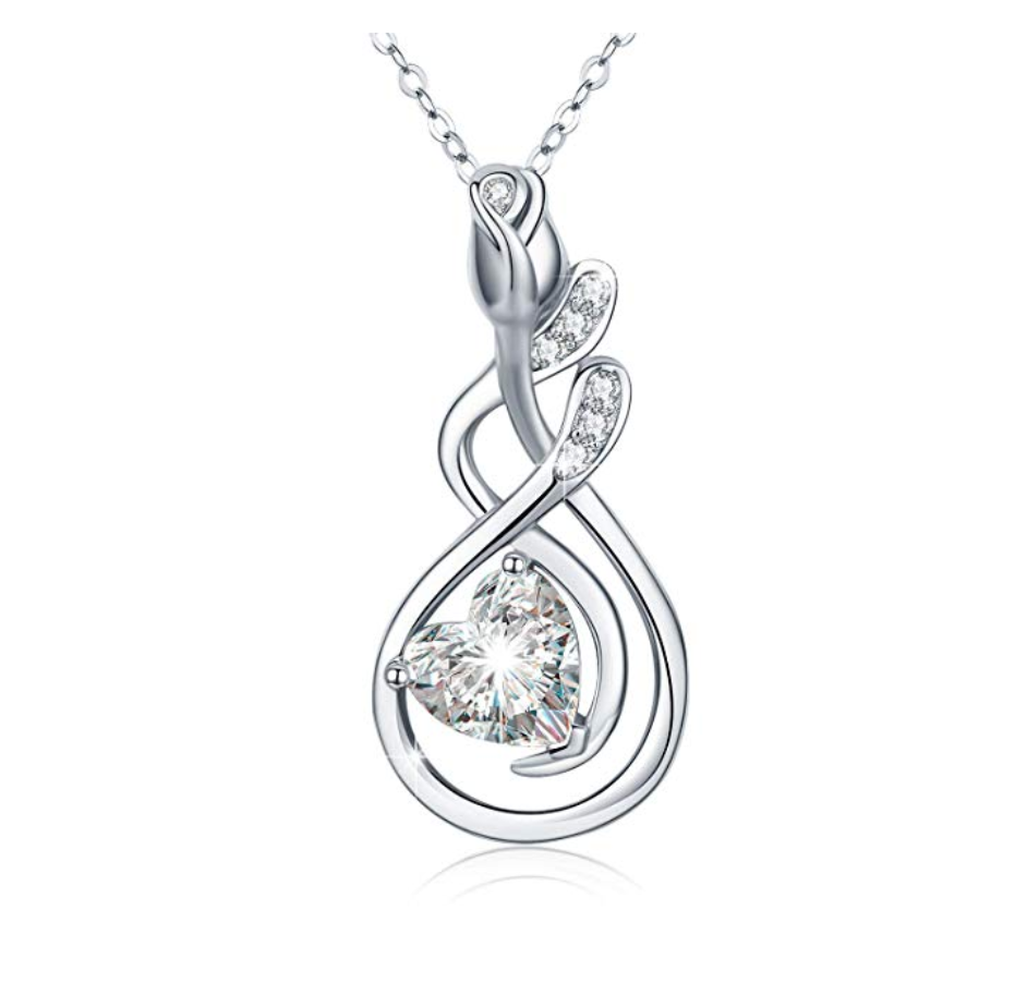 Silver Diamond Heart Twist Pendant Flower Rose Necklace Charm Jewelry Singer Gift 18in.