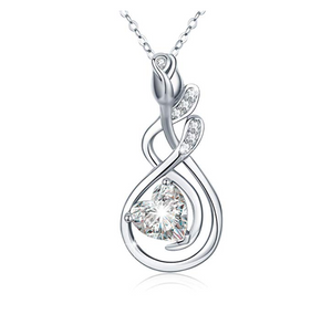 925 Sterling Silver Simulated Diamond Stud Heart Twist Pendant Necklace Charm Jewelry Mother's Day Anniversary Valentine Gift 20in.