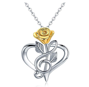 Silver Treble Clef Heart Music Note Necklace Musical Pendant Gold Rose Chain Singer Jewelry Gift