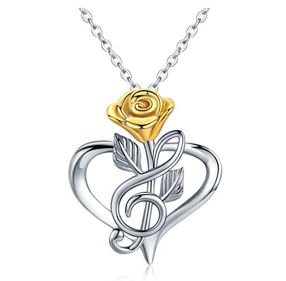 Silver Treble Clef Heart Music Note Necklace Musical Pendant Gold Rose Flower Chain Singer Jewelry Mothers Day Anniversary  Gift 20in.