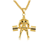 Strongman Gym Dumbbell Bodybuilding Necklace Exercise Workout Pendant Mr. Olympia Chain Gold Silver Color Metal Alloy 24in.