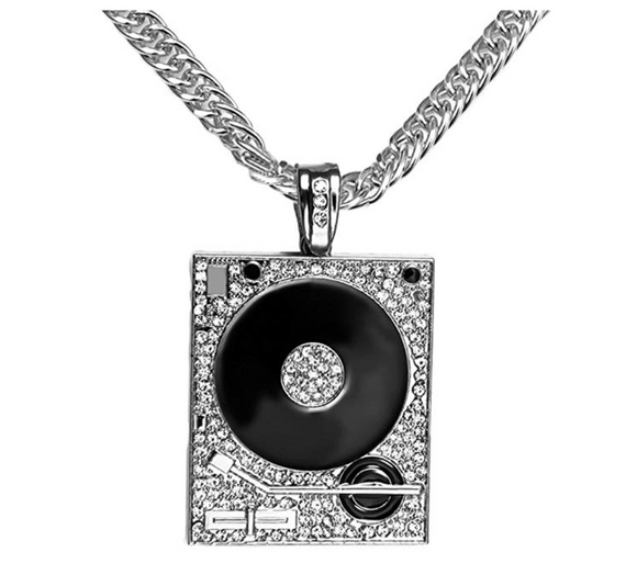 Simulated Diamond DJ Necklace Silver Music Disc Jockey Pendant Rapper Jewelry Hip Hop Gift DJ Gold Chain 35in.