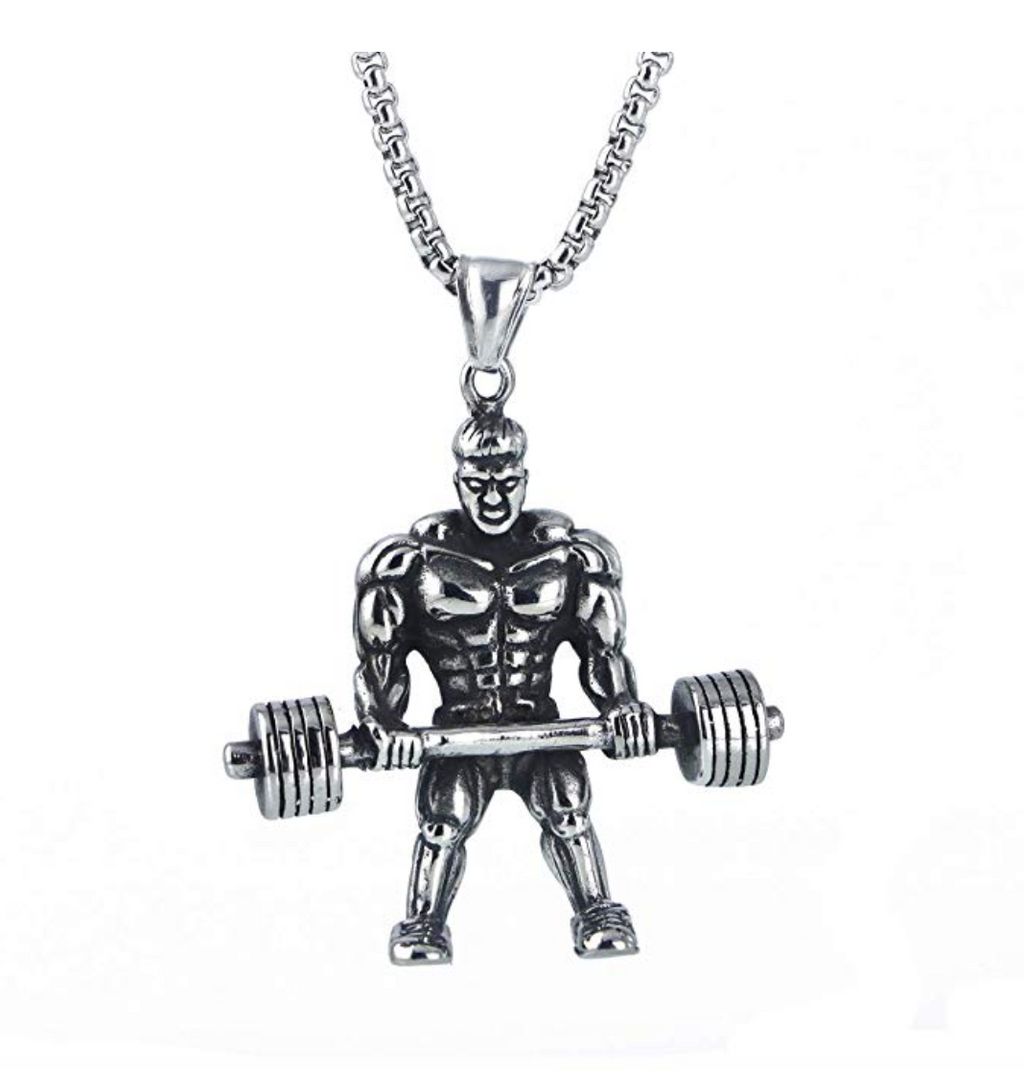 Mr. Olympia Chain Gym Bodybuilding Chain Strongman Silver Necklace Exercise Workout Pendant
