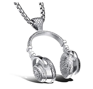 Silver Headphone Necklace Gold Music Disc Jockey Jewelry Hip Hop DJ Gold Chain BodyBuilding 24in.