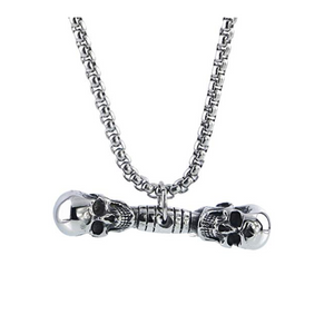 Skull Head Bodybuilding Chain Dumbbell Necklace Exercise Workout Pendant Chain Gym
