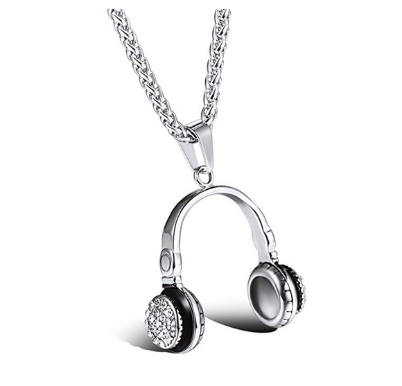 Simulated Diamond Headphone Necklace Disc Jockey Jewelry Hip Hop DJ Chain 24in.