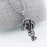 Demon Grim Reaper Necklace Death Chain Gift Witch Devil Necklace Cross Scary Necklace 24in.