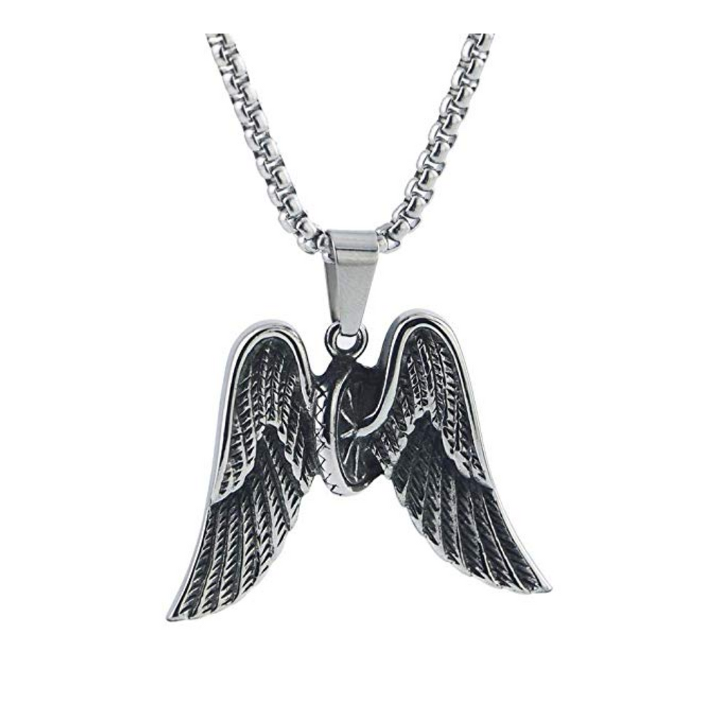 Biker Angel Wings Necklace Silver Tire Chain Mechanic Gift Necklace Silver 24in.