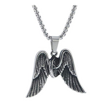 Biker Angel Wings Necklace Tire Chain Mechanic Gift Necklace 24in.