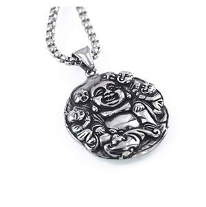 Buddha Necklace Silver Buddhist Chain Gift Buddha Necklace Silver Yoga Meditation Pendant 24in.
