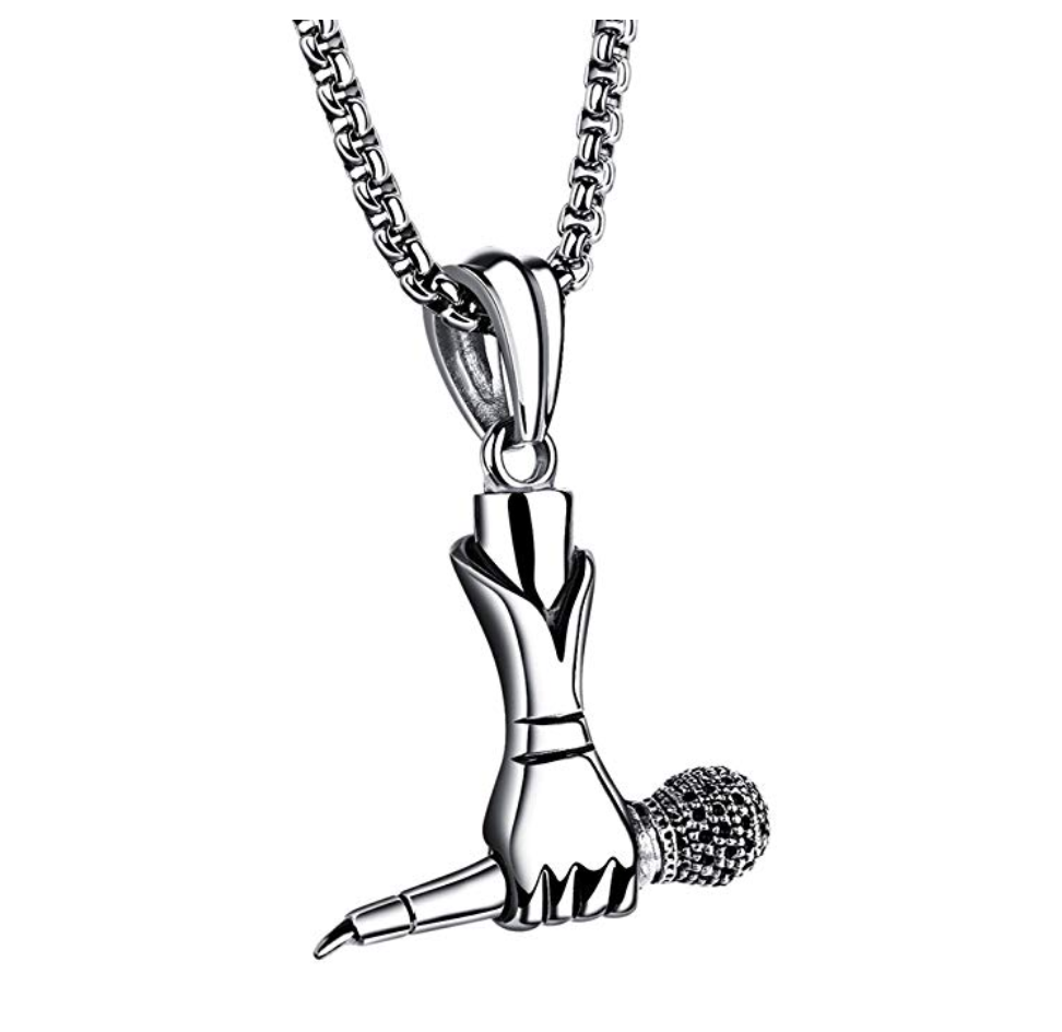 MicrophonE Necklace Silver Disc Jockey Rapper Jewelry Hip Hop DJ Chain Silver Microphone 24in.
