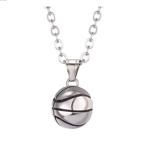 Basketball Necklace NBA Gift Pendant Silver Sports Basketball Chain 24in.
