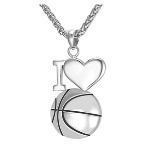 I Love Basketball Necklace NBA Gift Pendant Silver Sports Heart  Basketball Chain 24in.