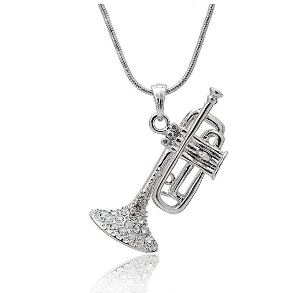 Silver Trumpet Necklace Horn Diamond Brass Musical Instrument Trumpet Horn Chain Music 18in.