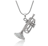 Trumpet Necklace Horn Simulated Diamond Musical Instrument Trumpet Horn Chain Music 20in.