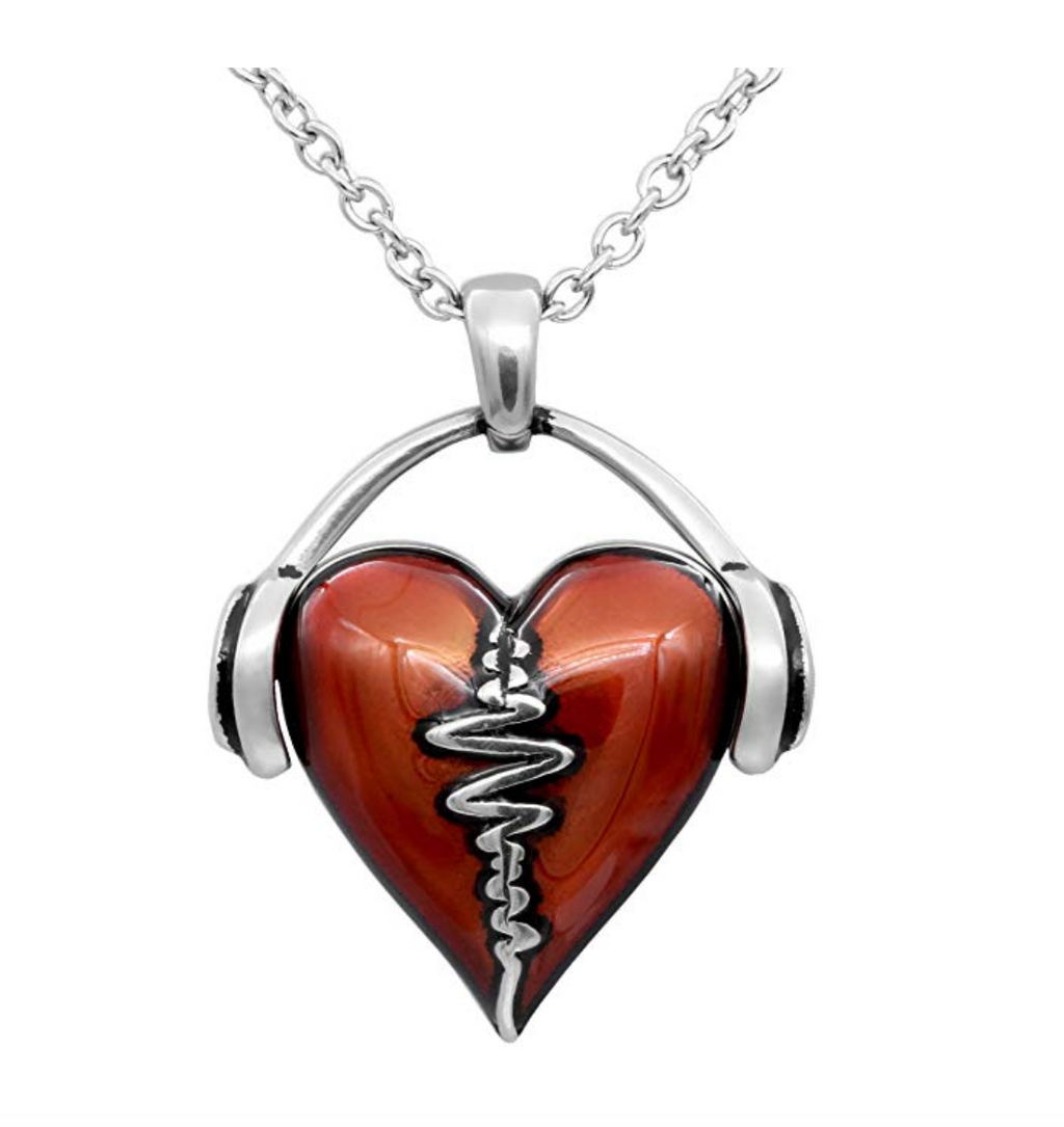 I Love Music Headphone Heart Music Silver Necklace Musical Chain Music Heartbeat Music Love