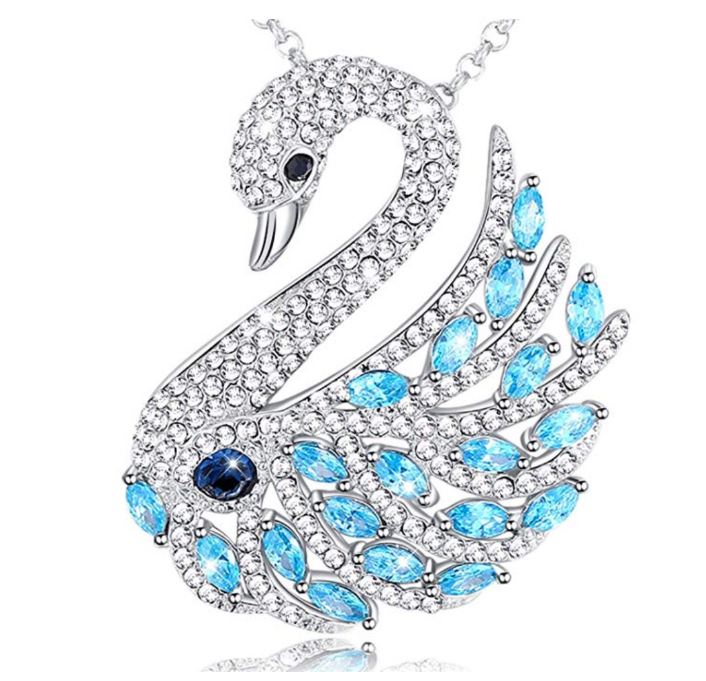 Blue Crystals Swan Necklace Silver Swan Pendant Necklace Brooch Pin Blue Crystals Swarovski 18in.