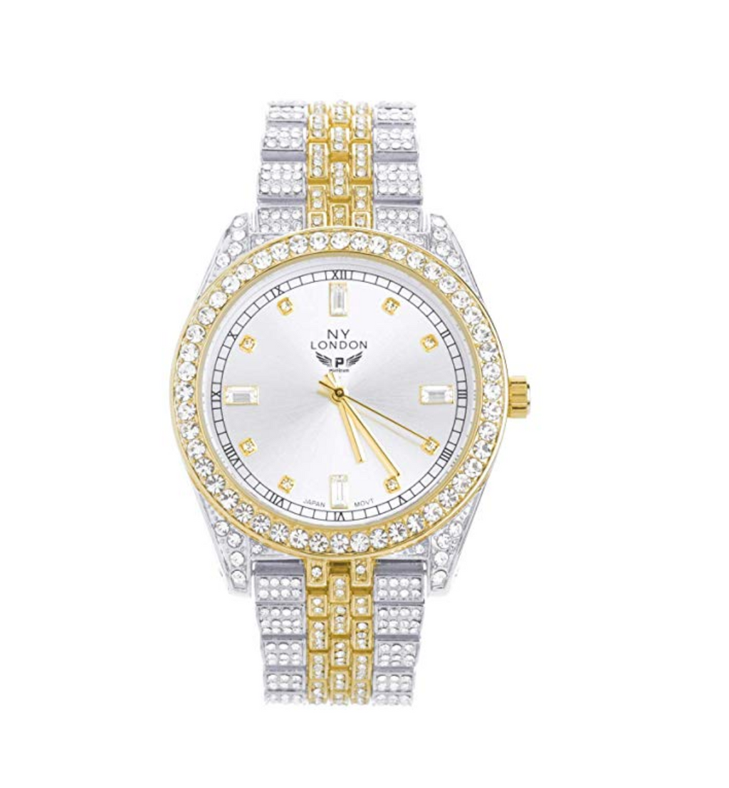 Iced Out 2 Tone Hip Hop Bling Men's Gold Silver Diamond Watches Luxury