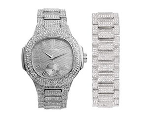 Silver Diamond Watch Set AP Bust Down Hip Hop Bracelet Bundle Iced Out Watch Bling Jewelry Gift