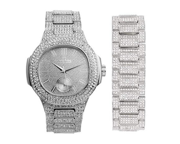 Silver Gold Color Watch Simulated Diamond Watch Set Bust Down Hip Hop Bracelet Bundle Iced Out Watch Bling Jewelry Gift