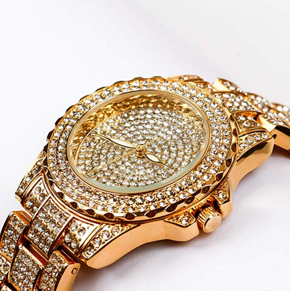 Iced Out Gold Diamond Watch Bust Down Hip Hop Bling Jewelry Lab Diamonds