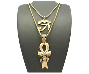 Ankh & Eye of Horus Necklace Ankh Pharaoh Egypt Necklace Diamonds Gold Chain 24in.