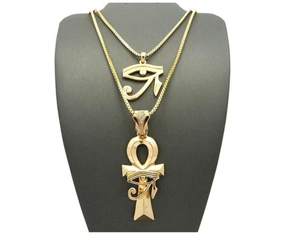 Ankh & Eye of Horus Necklace Ankh Pharaoh Egypt Necklace Simulated Diamonds Gold Color Metal Alloy Chain 24in.