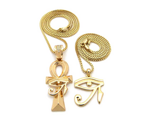 Gold Ankh & Eye of Horus Necklace Ankh Pharaoh Egypt Necklace Diamonds Gold Chain 24in.