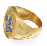 Blue Freemason Ring Gold Silver Color Masonic Ring Past Master Mason Jewelry Regalia Gift
